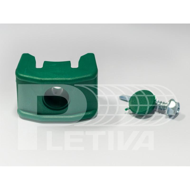 Příchytka 2D/3D PVC na kulatý sloupek zelena